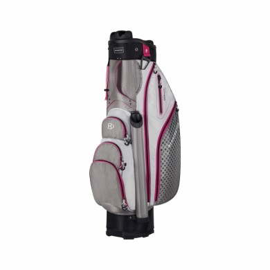 Bennington Cart Bag QO 9 Lite Grey/White/Pink
